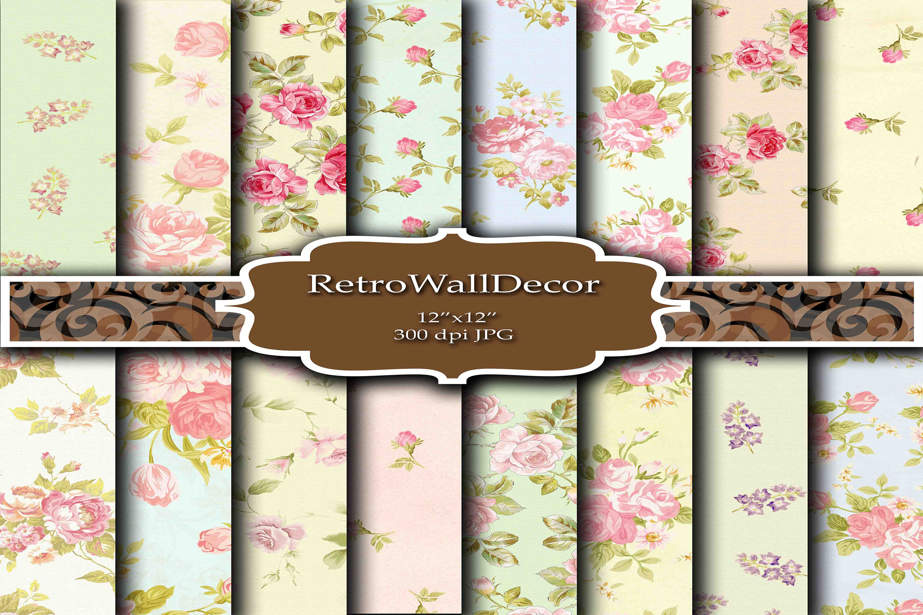 Download Free Floral Digital Paper Pack Graphic By Retrowalldecor Creative for Cricut Explore, Silhouette and other cutting machines.