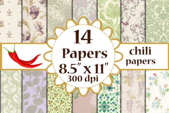 Floral Digital Paper Graphic Crafts By ChiliPapers - Image 1