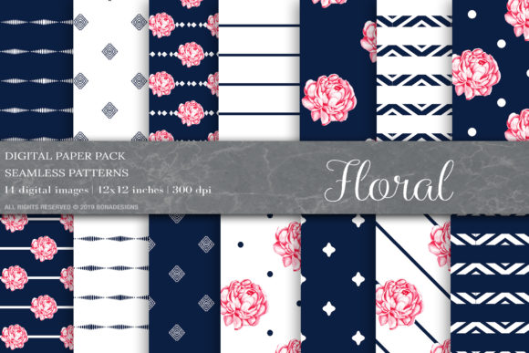 Floral Digital Papers, Blue Shabby Chic Graphic Patterns By BonaDesigns - Image 1