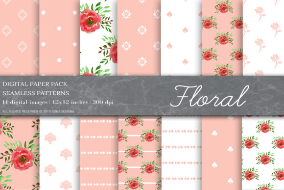Floral Digital Papers, Floral Pattern Graphic Patterns By BonaDesigns