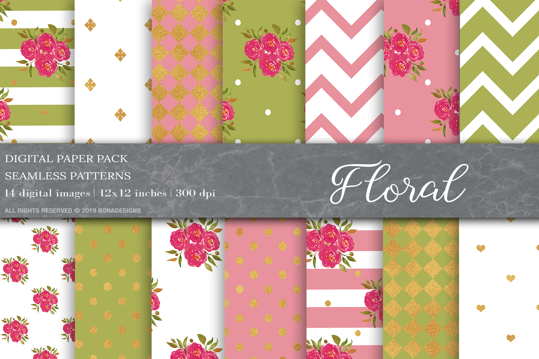 Download Free Floral Digital Papers Floral Patterns Graphic By Bonadesigns for Cricut Explore, Silhouette and other cutting machines.