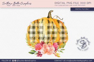 Floral and Buffalo Plaid Orange Graphic By Southern Belle Graphics