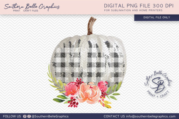 Floral and Buffalo Plaid White Graphic