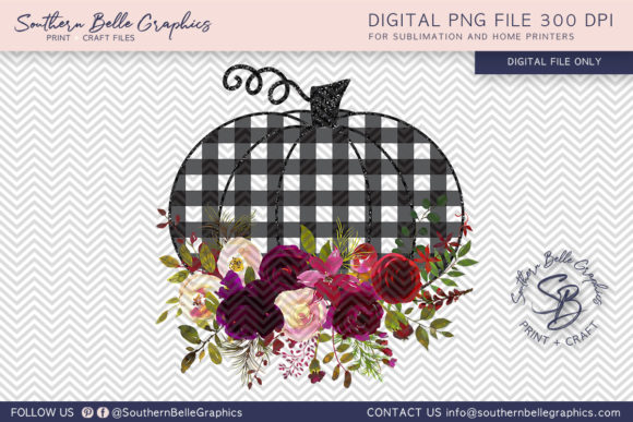 Floral and Plaid Pumpkin Graphic Crafts By Southern Belle Graphics