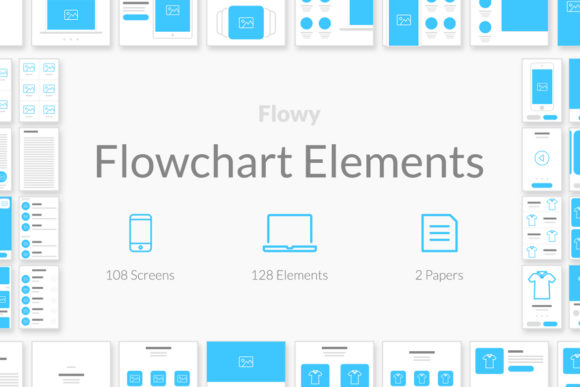 Flowy Flowcharts Graphic UX and UI Kits By Web Donut
