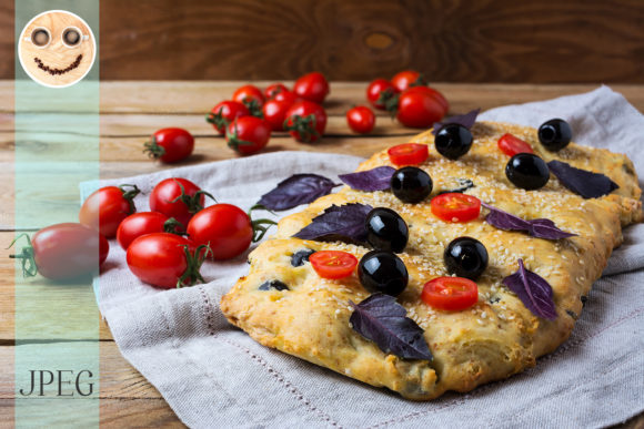 Print on Demand: Focaccia with Olive, Cherry Tomato Graphic Food & Drinks By TasiPas