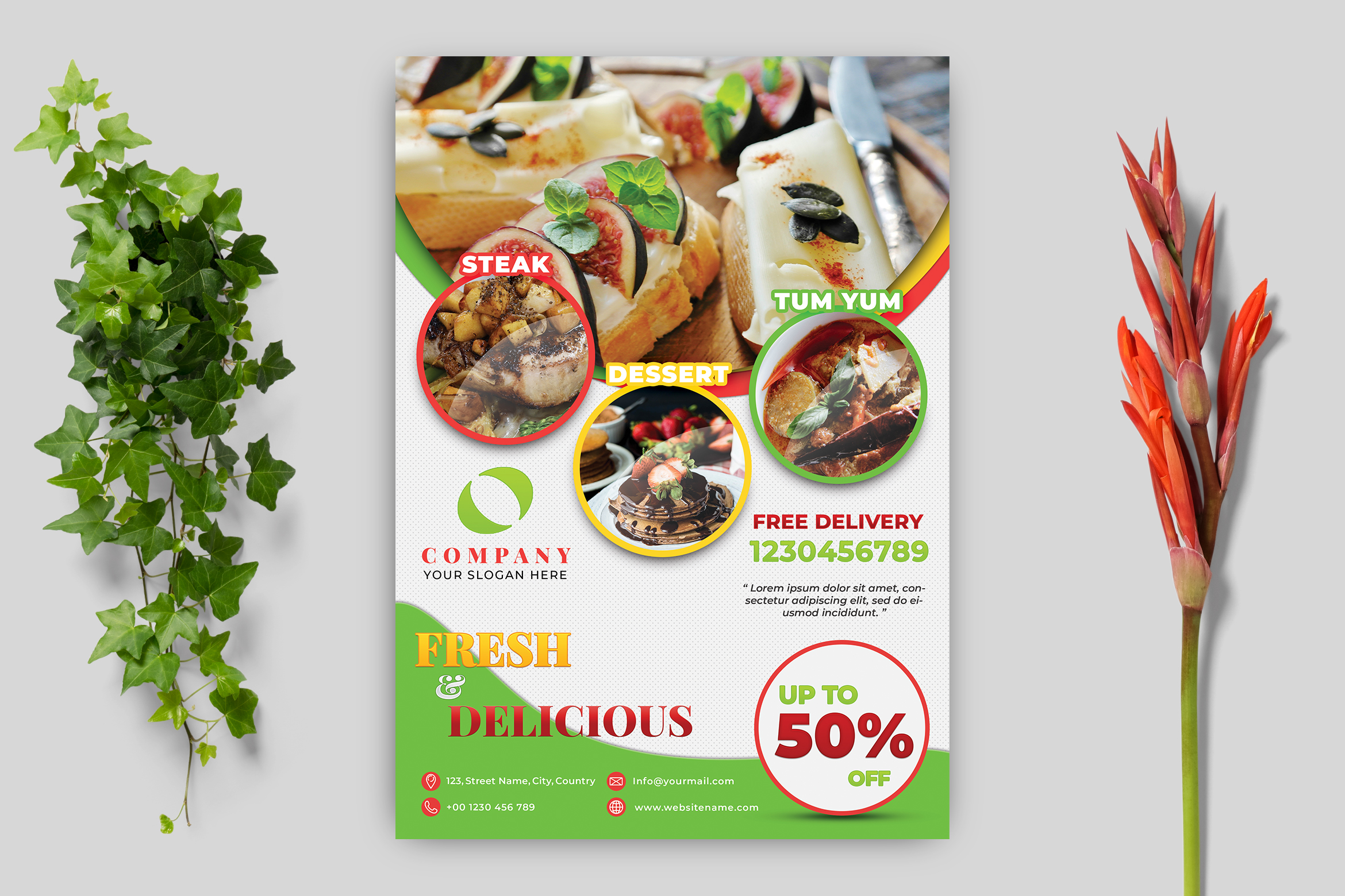 Download Free Food Flyer Template Graphic By Goku4501 Creative Fabrica for Cricut Explore, Silhouette and other cutting machines.