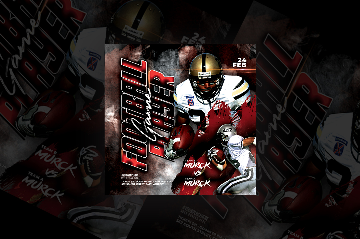 Download Free Football Game Player Flyer Graphic By Qohhaarqhaz Creative Fabrica for Cricut Explore, Silhouette and other cutting machines.