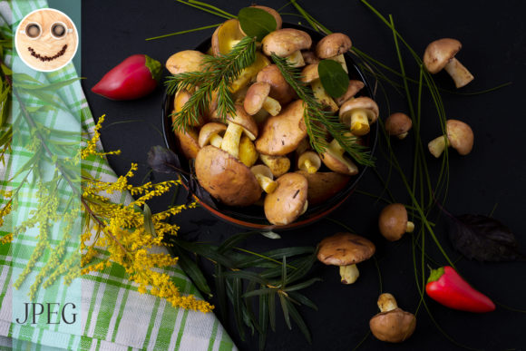 Print on Demand: Forest Picking Mushrooms Graphic Food & Drinks By TasiPas