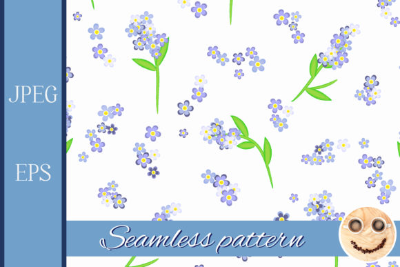 Print on Demand: Forget-me-not Flowers Pattern Graphic Patterns By TasiPas - Image 1
