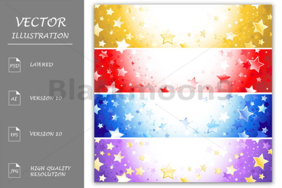 Four Banners with Sparkling Stars Graphic Illustrations By Blackmoon9