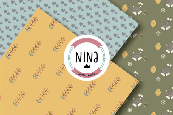 Download Free Fox Digital Paper Pack Woodland Pattern Graphic By Nina Prints for Cricut Explore, Silhouette and other cutting machines.