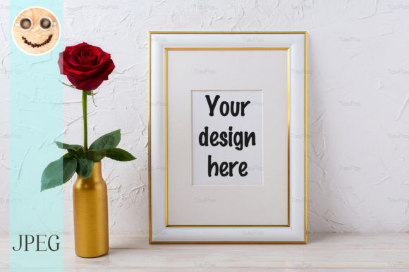 Print on Demand: Frame Mockup with Burgundy Red Rose Graphic Product Mockups By TasiPas