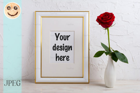 Print on Demand: Frame Mockup with Red Rose in Vase Graphic Product Mockups By TasiPas