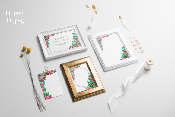 Print on Demand: Frames with Cowberry Leaves and Berries Graphic Illustrations By Natika_art