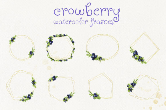 Print on Demand: Frames with Watercolor Crowberry Graphic Illustrations By Natalia Arkusha - Image 2