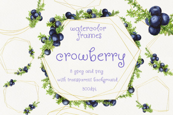 Print on Demand: Frames with Watercolor Crowberry Graphic Illustrations By Natalia Arkusha