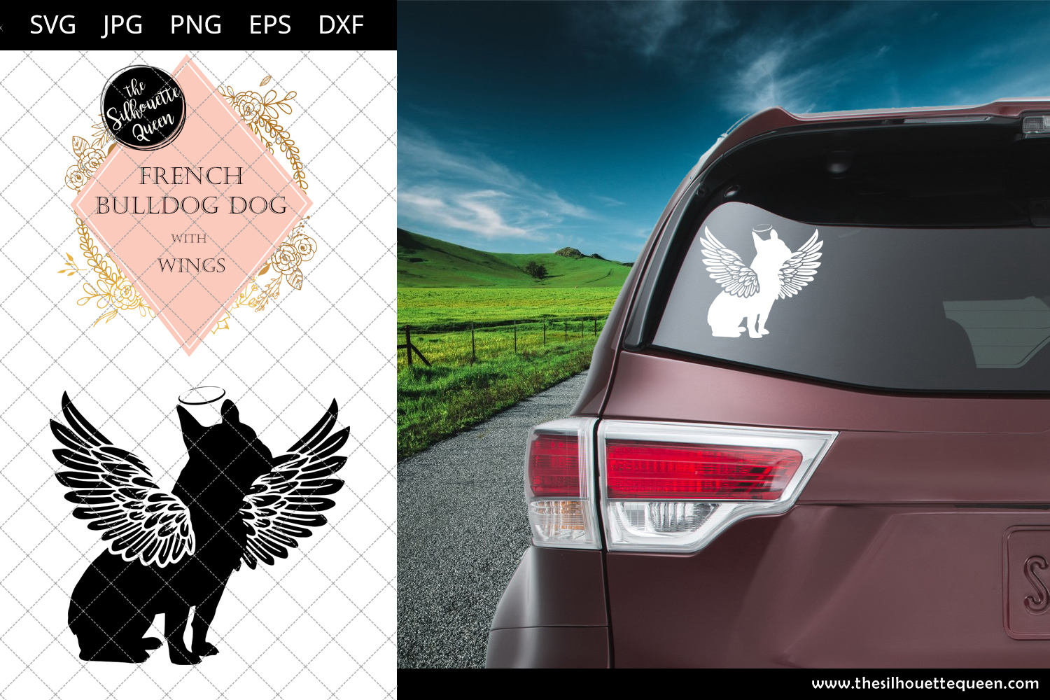Download Free French Bulldog Dog 9 With Wings Graphic By for Cricut Explore, Silhouette and other cutting machines.