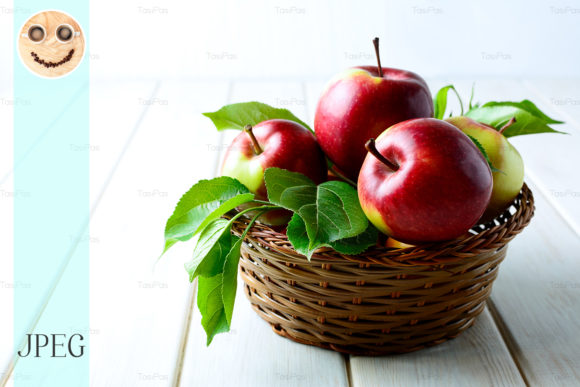 Print on Demand: Fresh Red Apples in the Wicker Basket Graphic Food & Drinks By TasiPas