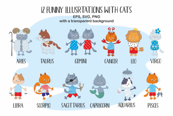 Download Free Funny Zodiac With Cats Vector Cliparts Graphic By Olga Belova SVG Cut Files