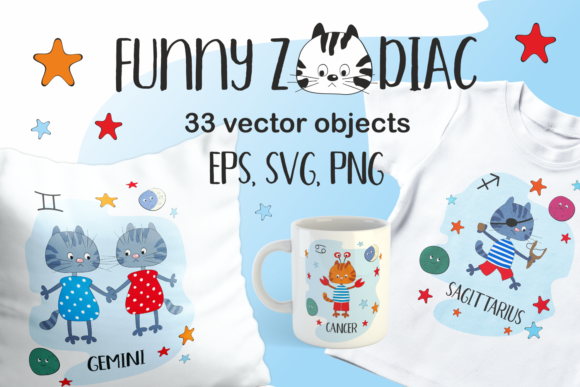 Print on Demand: Funny Zodiac with Cats Vector Cliparts Graphic Illustrations By Olga Belova