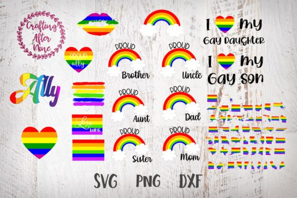 Print on Demand: Gay Pride Bundle, LGBT Bundle, Rainbow Graphic Crafts By Crafting After Nine