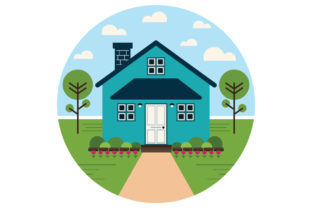 Print on Demand: Geometric Modern Teal House Clip Art Graphic Illustrations By Running With Foxes 2