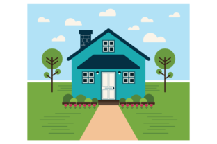 Print on Demand: Geometric Modern Teal House Clip Art Graphic Illustrations By Running With Foxes 3