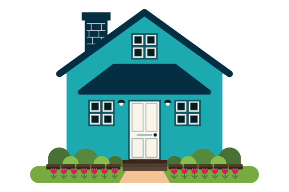 Print on Demand: Geometric Modern Teal House Clip Art Graphic Illustrations By Running With Foxes