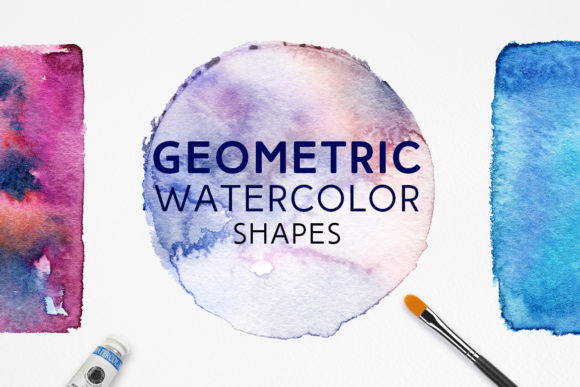 Print on Demand: Geometric Watercolor Shapes Graphic Objects By freezerondigital