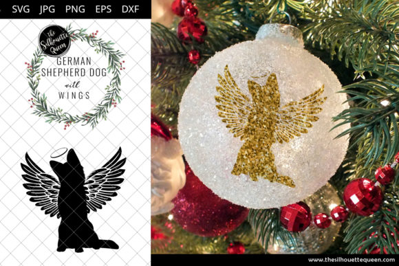 Download Free German Shepherd Dog 4 With Wings Svg Graphic By Thesilhouettequeenshop Creative Fabrica for Cricut Explore, Silhouette and other cutting machines.