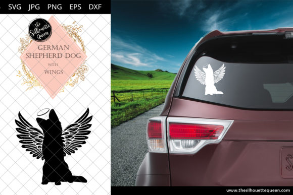 Download Free German Shepherd Dog 4 With Wings Svg Graphic By for Cricut Explore, Silhouette and other cutting machines.