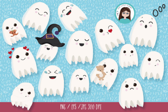 Ghost Clipart Bundle Graphic Illustrations By CuteLittleClipart