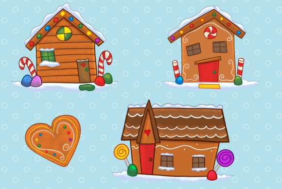 Download Free Gingerbread Houses Clip Art Collection Grafico Por for Cricut Explore, Silhouette and other cutting machines.