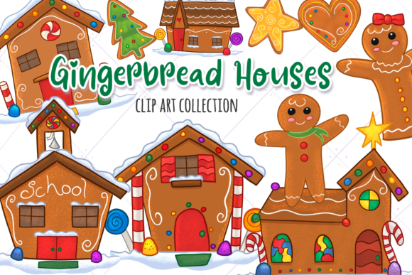 Print on Demand: Gingerbread Houses Clip Art Collection Graphic Illustrations By Keepinitkawaiidesign