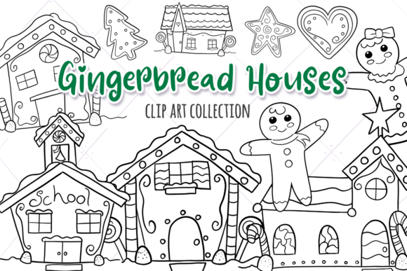 Download Free Gingerbread Houses Digital Stamps Graphic By Keepinitkawaiidesign Creative Fabrica for Cricut Explore, Silhouette and other cutting machines.