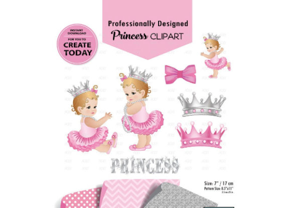 Print on Demand: Girl Baby Pink and Gray Digital Graphic Illustrations By adlydigital