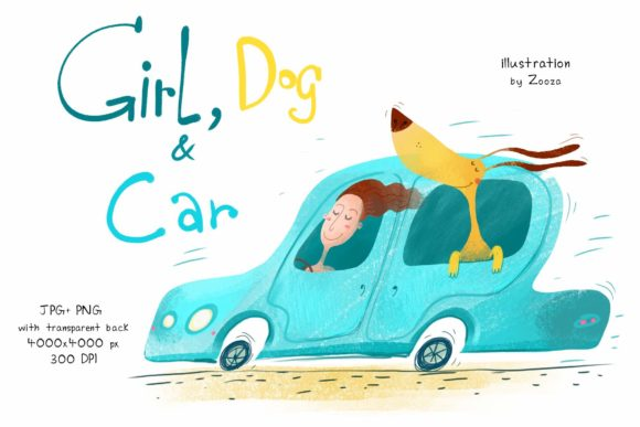 Print on Demand: Girl, Dog and Car Graphic Illustrations By Zooza Art