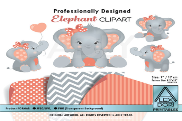 Print on Demand: Girl Elephant Clipart Graphic Graphic Templates By adlydigital