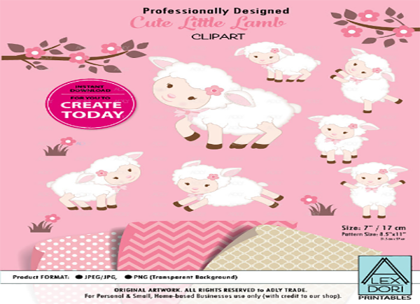 Download Free Girl Lamb Clip Art Graphic By Adlydigital Creative Fabrica for Cricut Explore, Silhouette and other cutting machines.