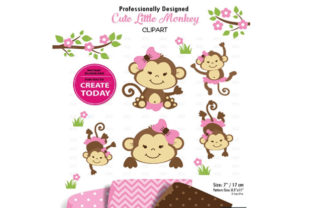 Girl Monkey Clip Art, Cute Monkey Print Graphic By adlydigital