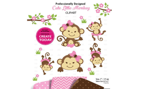 Print on Demand: Girl Monkey Clip Art, Cute Monkey Print Graphic Illustrations By adlydigital