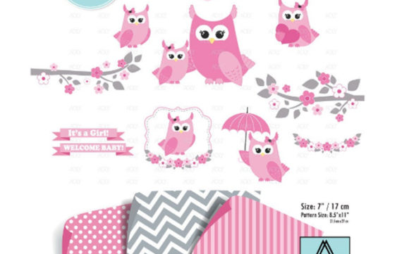 Download Free Girl Owl Clipart Set In Pink 3 Patterns Graphic By Adlydigital for Cricut Explore, Silhouette and other cutting machines.