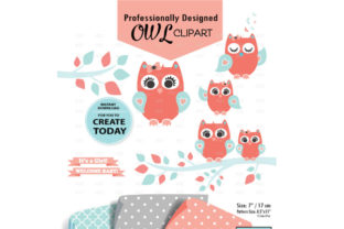 Girl Owl Clipart in Coral Aqua +3Pattern Graphic By adlydigital