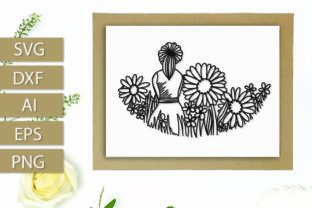 Girl in Wildflowers a Papercut Graphic By Justina Tracy