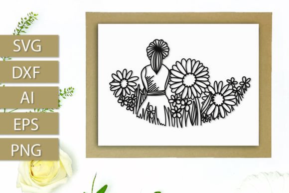 Print on Demand: Girl in Wildflowers a Papercut Graphic Crafts By Justina Tracy