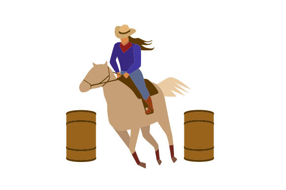 Girl on Horse Barrel Racing Horse & Equestrian Craft Cut File By Creative Fabrica Crafts