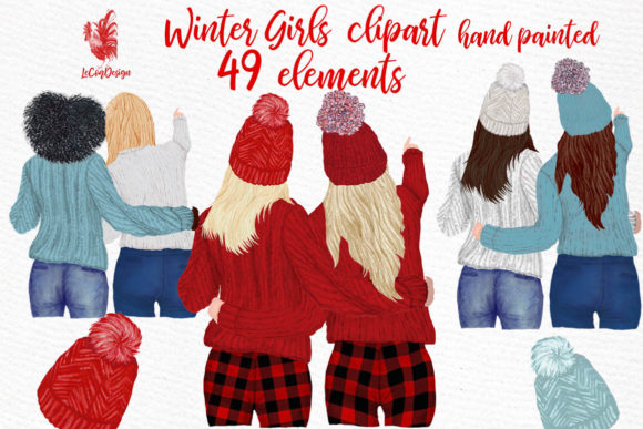 Girls Clipart Best Friends Clipart Graphic Illustrations By LeCoqDesign