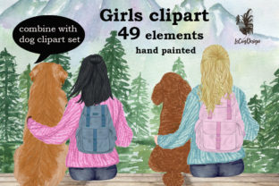 Print on Demand: Girls Clipart Best Friend Clip Art Graphic Illustrations By LeCoqDesign