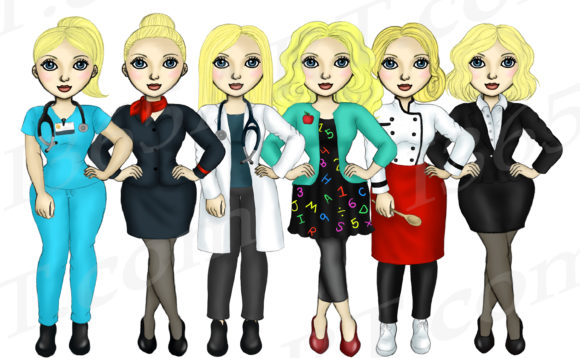 Girls At Work Career Fashion Clipart Graphic By Deanna Mcrae Creative Fabrica